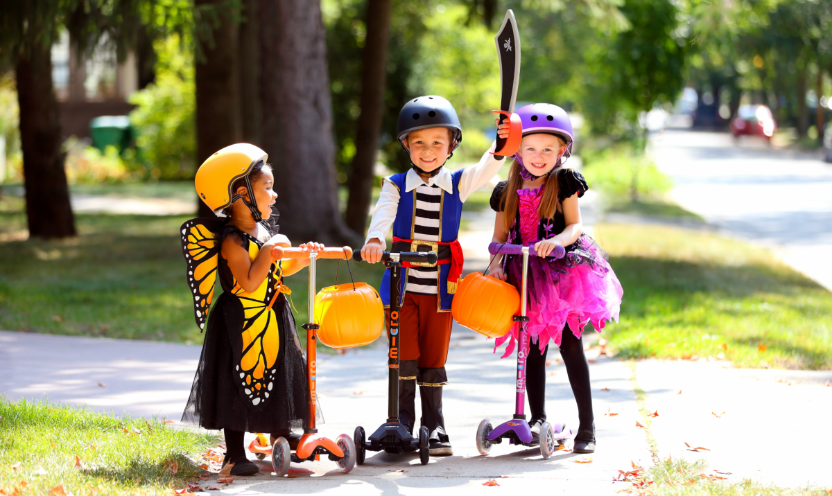 Halloween, Trick or treating, costume, scooter